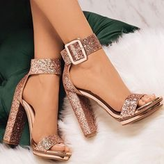 Sequin Open Toe Line-Style Buckle Platform Prom Sandals Pailletten Open Toe Line-Style Schnalle Plattform Prom Sandalen The post Pailletten Open Toe Line-Style Schnalle Plattform Prom Sandalen & Shoes appeared first on Shoes . Lace Up Heels, Pumps Heels, Rose Gold Heels, Glitter High Heels, Sparkly High Heels, Nice Heels, Sandal Heels, Stiletto Heels, Heeled Sandals