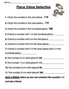 NOBT Place Value Detective add more place values for and up Place Value Worksheets, Math Place Value, Place Values, Math Worksheets, Math Resources, Hindi Worksheets, Second Grade Math, Grade 2, Fun Math