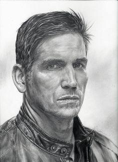 Jim Caviezel as John Reese {tv series Person of Interest} pencil portrait by John DiBiase