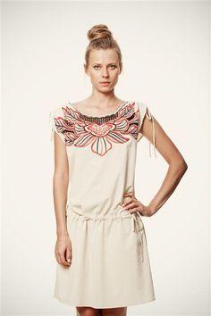 SALE Ivory Short Sleeve Ivory Strand Dress with by VandaFashion on Etsy