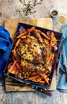 The British roast is timeless, and while the classic version will always have its place, one of its best bits is the endless possibility for variation. Roast Recipes, Chicken Recipes, Cooking Recipes, Healthy Recipes, Hp Sauce, Ocean Food, Simply Yummy, Roast Dinner, Recipes From Heaven