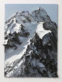 Basé en Suisse et au Japon, Conrad Jon Godly est un peintre qui crée des peintures de montagnes enneigées, sombres ou pleines de verdure qu'il a photographiées. Ses coups de pinceau donnent l'impression que nous nous trouvons devant de la peinture abstraite avec énormément de texture et de reliefs