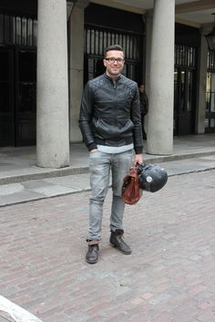"""MOTOR-MAN"" #leather #motorcycle #greyjean #streetstyle"