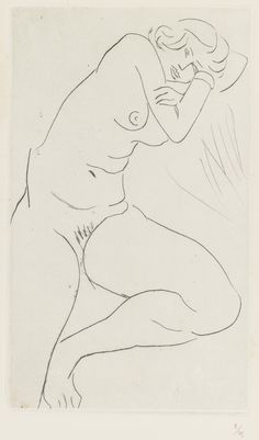 Henri Matisse  1869 - 1954  NU ASSIS, LA TÊTE DANS LES BRAS (DUTHUIT 117)  Estimate: 7,000 - 9,000 USD  Drypoint, 1929, signed in pencil, numbered 8/25, on chine appliqué on wove support, framed  200 by 119 mm 7 7/8 by 4 3/4 in  support 379 by 285 mm 15 by 11 1/4 in