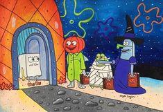 Cute Fall Wallpaper, Halloween Wallpaper Iphone, Cute Wallpaper Backgrounds, Aesthetic Iphone Wallpaper, Cute Wallpapers, Wie Zeichnet Man Spongebob, Spongebob Pics, Spongebob Drawings, Halloween Cartoons