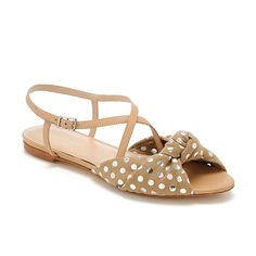 Francie knot sandal - Nude leather with Tan/Metallic dot canvas