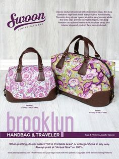 Brooklyn Handbag and Traveler by Swoon Patterns for May 2016 Bag of the Month Club