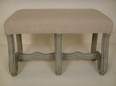 Reedition of 19th Century Italian Curved Leg Bench with Uphostered Belgian Linen Top and Painted Wood Base Sold Individually