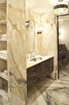 Designer Kelly Wearstler's ultra-glam beach house has a bathroom full of marble