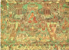 The Mogao Caves (Chinese: 莫高窟; pinyin: Mògāo kū), also known as the Caves of the Thousand Buddhas (Chinese: 千佛洞; pinyin: qiān fó dòng), southeast of the center of Dunhuang, an oasis strategically located at a religious and cultural crossroads on the Silk Road, in Gansu province, China, 8th century.