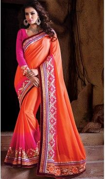 Orange Color Chiffon Traditional Style Sarees | FH466272629