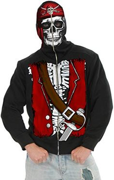 Charades Mens Pirate Skull Hoodie Multi XLarge >>> Check this awesome product by going to the link at the image-affiliate link.