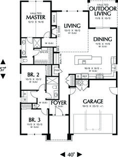 Craftsman Style House Plan - 3 Beds 2.00 Baths 1529 Sq/Ft Plan #48-598 Floor Plan - Main Floor Plan - Houseplans.com