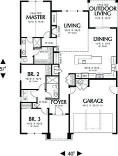 Craftsman Style House Plan - 3 Beds 2.00 Baths 1529 Sq/Ft Plan #48-598 Floor Plan - Main Floor Plan