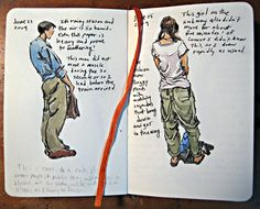 Sketch Book Sketching With a Moleskine I dont use moleskine; but love these sketch ideas Sketch Journal, Artist Journal, Book Journal, Art Journals, Arte Sketchbook, Sketchbook Pages, Moleskine Sketchbook, Sketches Of People, Drawing People