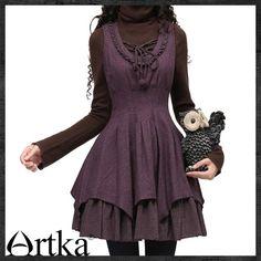 little witch hugging waist big hem purple woolen vest coat LA10028D | ArtkaFashion - Clothing on ArtFire