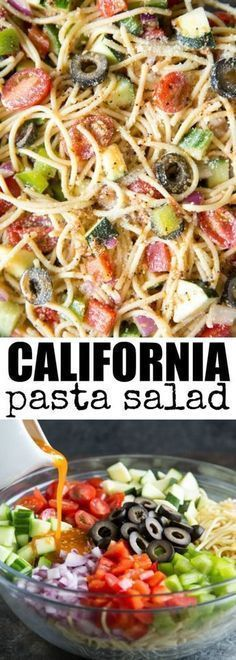 This delicious and colorful California Pasta Salad is always a hit at parties! Make it a day ahead if you want; the flavors only get better as it sits! California Pasta Salad This delicious and colorful California Pasta Salad… Pasta Recipes, Cooking Recipes, Spinach Recipes, Cooking Tips, Vegetarian Recipes, Healthy Recipes, Vegetarian Pasta Salad, Vegan Pasta, Summer Salads