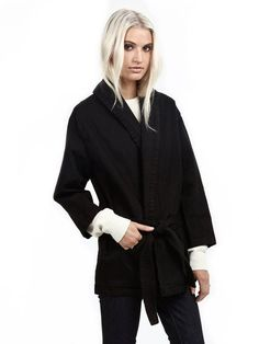 Black Robe Jacket found on Zady - www.zady.com/products/objects-without-meaning-robe-jacket - via /zadypins/. sustainable fashion ideas | sustainable fashion inspiration | sustainable style capsule wardrobe | sustainable style simple