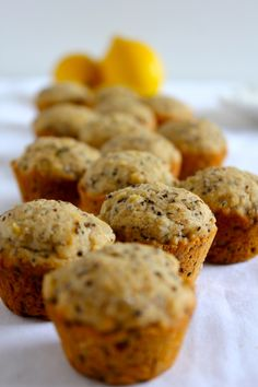 [ Recipe: Lemon Chia Seed Muffins (adapted from Peas and Thank You Recipe) ] Using soy milk, lemon juice, spelt flour (or whole wheat), flour, baking powder, baking soda, salt, chia seeds, coconut oil, agave nectar (or other liquid sweetener), unsweetened applesauce, vanilla extract, and lemon zest. ~ from BoutThere.com