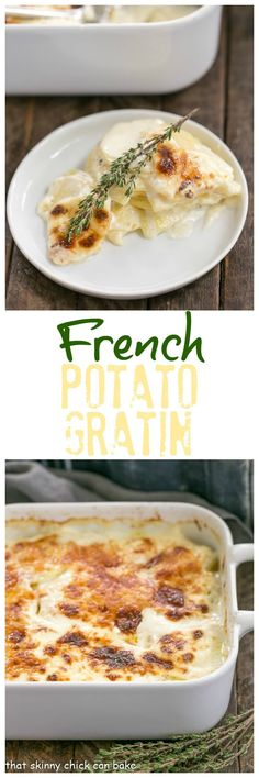French Potato Gratin | A exquisite creamy potato casserole kissed with garlic, thyme and topped with Gruyere cheese! @lizzydo
