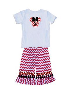 Custom Disney Minnie Mouse Appliqued Shirt and Chevron Trousers by Childrens Cottage, $54.00