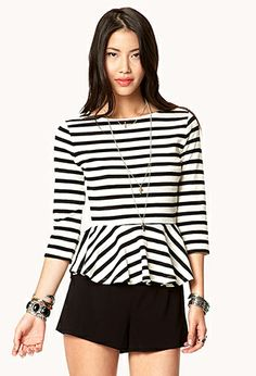 Essential Striped Peplum Top | FOREVER 21 - 2042999204