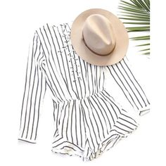 White Black Striped Lace Up Ruffle Romper Striped tie up long sleeve romper with ruffled hem and back keyhole closing. Partially lined  Imported Pants Jumpsuits & Rompers