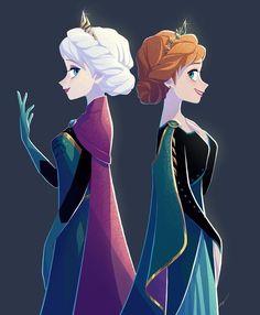 Elsa and Anna Walt Disney Pixar, Disney Frozen Elsa, Disney And Dreamworks, Disney Movies, Frozen Frozen, Frozen Movie, Disney Princess Art, Disney Fan Art, Princess Movies