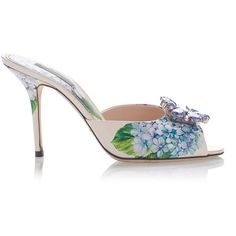 Dolce & Gabbana Embellished Floral-Print Mules ($895) ❤ liked on Polyvore featuring shoes, stiletto heel shoes, flower pattern shoes, heels stilettos, flower print shoes and high heel stilettos