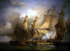 'French corvette Bayonnaise boarding HMS Ambuscade durin the Action of 14 December 1798'-oil on canvas Paris-Musée National de la Marine, by Louis-Philippe Crépin (1772-1851).
