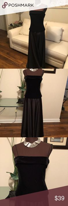 Women Black Velvet & Satin Flowing Gown Sz 10 $160 Thanks for stopping by my pet and smoke free Closet.  You are viewing a gorgeous unique brand new long flowing black maxi gown.  Top is velvet and bottom is satin.  Dress length:52 Underarm to underarm 16 Night Way Collections Dresses Maxi