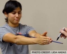 "Measuring your draw length: carefully place the nock of an arrow on your chest just below your collarbone with the arrow pointing straight out away from your body. Then reach your arms forward and put both palms against the arrow. Notice the point where your middle fingers touch. Measure the distance from that point to the arrow nock and then add 2"" for safety."