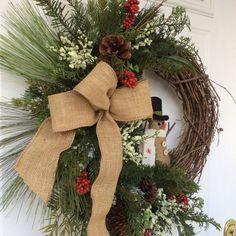Christmas Wreath-Snowman Wreath-Whimsical Wreath-Holiday