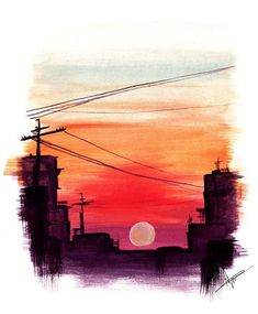 Print of a watercolor sunset painting. This features 1 physical print of this watercolor sunset painting art painted by Drawing Sunset, Watercolor Sunset, Watercolor Trees, Watercolor Landscape, Abstract Watercolor, Watercolor Illustration, Tattoo Watercolor, Simple Watercolor, Watercolor Animals