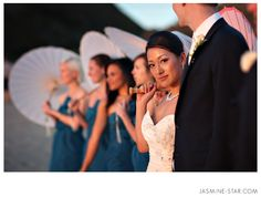 Bridal Party with Parasols - Beach Wedding Ceremony at The Sunset Restaurant - Malibu, California - Photography: www.Jasmine-Star.com