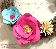 Unfrogettable Stamping   Fabulous Friday Spring Flower Wreath featuring the Bouquet Bigz L die from Stampin' Up!