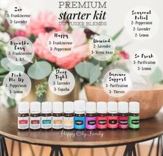 Premium Starter Kit diffuser blends for all your young living essential oils you get in your kit. Happy Oily Family diffuser recipes