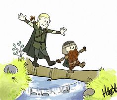 Legolas and Gimli In The Style Of Calvin AndHobbes