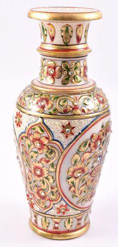 Marble #GoldLeaf Painting Ornamental Flower Vase - #Beautify your #living room with this elegant #peacock #design #handpainted #marble #vase.