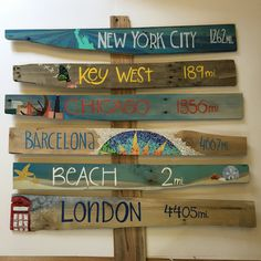 Set of 6 Extra Large Illustrated Signpost by KrysCaywoodDesign