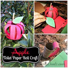 DIY Apple Toilet Paper Roll Craft for Kids - Crafty Morning Autumn Crafts, Fall Crafts For Kids, Toddler Crafts, Preschool Crafts, Fun Crafts, Art For Kids, Craft Kids, Kids Diy, Fall Art Projects