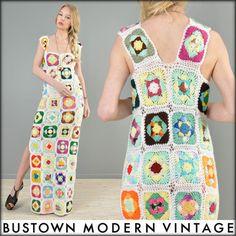 Plus Size Vtg 70s Rainbow Granny Square Hippy Boho Wedding Festival Maxi Dress | eBay