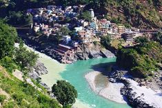 Meeting of the Alaknanda and Bhagirathi Rivers in Devprayag, India  These two sacred rivers join to form the Ganges (Ganga) in Devprayag.