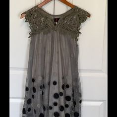 Funky Shift Dress Fun dress with lace overlay accented by velvet, sparkling polka dots. Adorable lace trim top. Stated as medium but will fit a small as well. Thanks for looking! Happy Poshing! 😀 Dresses