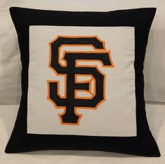 "San Francisco Giants 18"" Envelope Pillow Cover - 100% Cotton Hand Painted - New #sfgiants #SanFranciscoGiants"