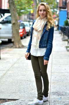 White Top + Jean Jacket + Olive Green Pants + White ...