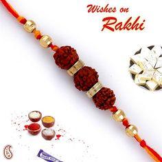 Picture of Three Rudraksh Golden Beads Rakhi