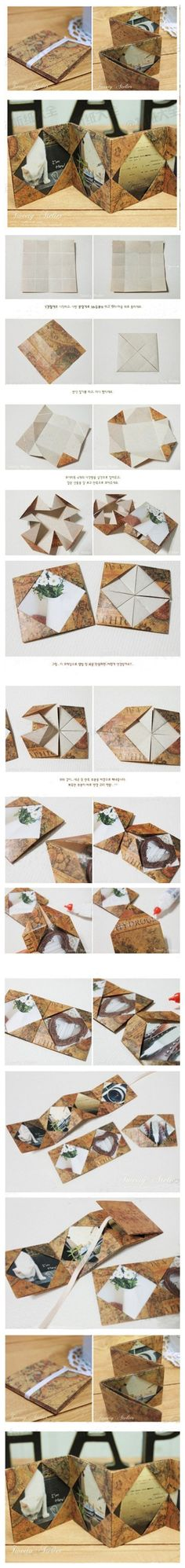 Step-by-step instructions for construction of multi-page origami book