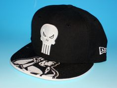 Punisher Inked New Era 59fifty Fitted Hat Size 7 3/8 Marvel Comics Custom Black