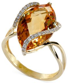 Gemma by EFFY Marquise-Cut Citrine (8-1/2 ct. t.w.) and Diamond (1/8 ct. t.w.) Wrap Ring in 14k Gold - Rings - Jewelry & Watches - Macy's